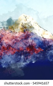 Abstract mountain peak, digital watercolor painting