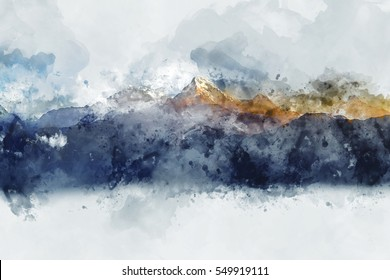 Abstract mountain ranges in morning light,  digital watercolor painting