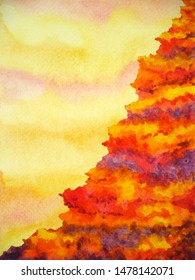 abstract mountain volcano hell cliff watercolor painting illustration design