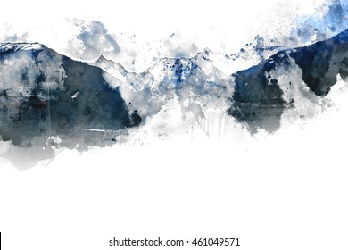Abstract mountains landscape on white background, digital watercolor painting