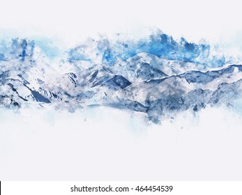 Abstract mountains landscape on white background, blue shade, digital watercolor painting