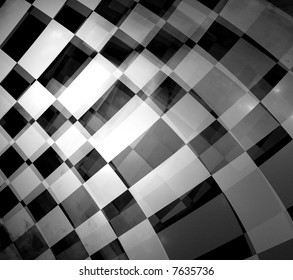 abstract of moving checkered flag