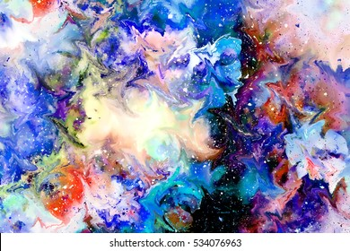 abstract multicolor flower motive collage with dynamic movement effect. Computer art.