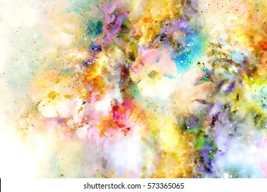 abstract multicolor flower motive collage in space. watercollor effect.