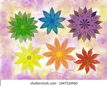 Abstract multi-color rainbow floral illustration
