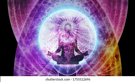 Abstract multicolored artistic meditation field of energy with a man sitting in the middle background