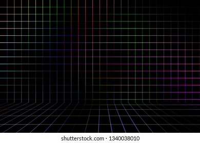Abstract multicolored background, with lines and squares on the wall in perspective.