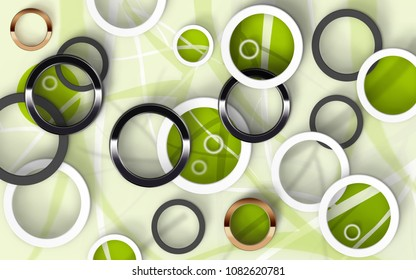 Abstract multicolored circles on white green background. 3D Wallpapers for interior. 3D rendering.