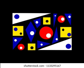 Abstract multi-colored drawing of triangles, quadrilaterals and circles on a black background. Multicolored triangles, quadrilaterals and circles on a black background.
