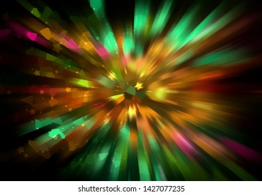 Abstract multicolored fractal composition. Magic explosion star with particles. Graphic illustration.