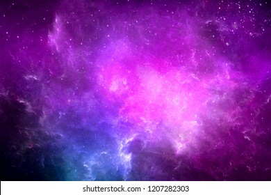 Abstract multicolored galaxy with bright stars in a space background