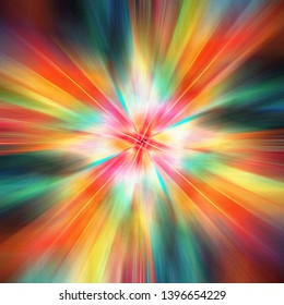 Abstract multicolored glowing bright background with fantastic elements