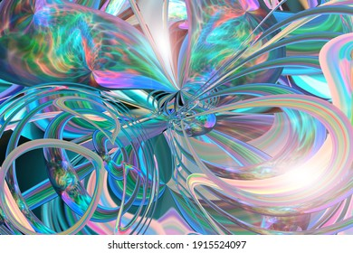 Abstract multicolored iridescent texture background. 3d image.