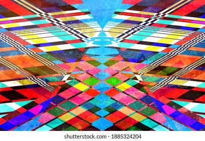 Abstract multicolored retro watercolor background with geometric objects. Example of an abstraction design for a website or banner