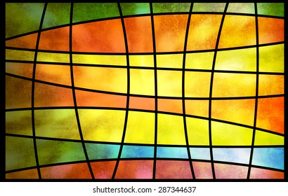 Abstract multicolored stained glass window with sunlight shining, square pattern background