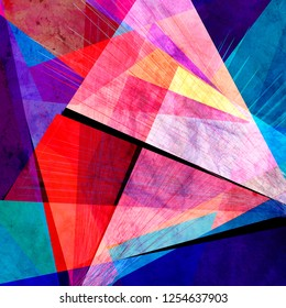 Abstract multicolored watercolor background with different geometric shapes