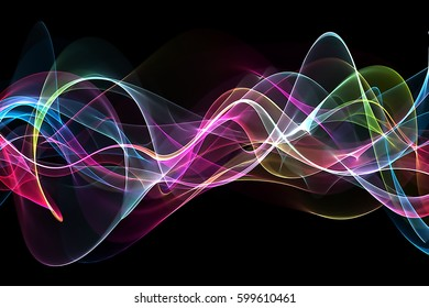abstract multicolored wavy pattern on a black background