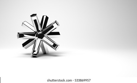 Abstract multi-polygonal high-technology shape made of fine glossy metal, high resolution 3D render