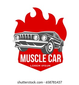 Abstract muscle car label logo template stock illustration 658781449 abstract muscle car label and logo template retro car symbol silhouette vintage car with reheart Image collections