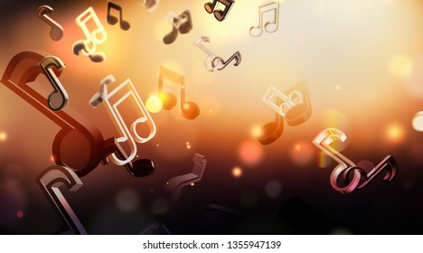 abstract music background with notes, 3D image design