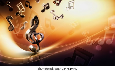 abstract music background with notes and treble clef, 3D image concept