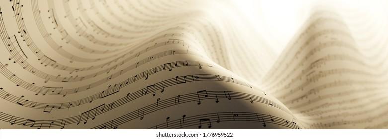 Abstrakter musikalischer Hintergrund; Kunstkonzepte, originelles 3D-Rendering, RF-Illustration