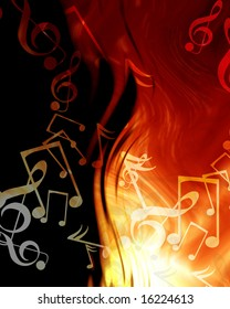 abstract musical notes on a fire like background