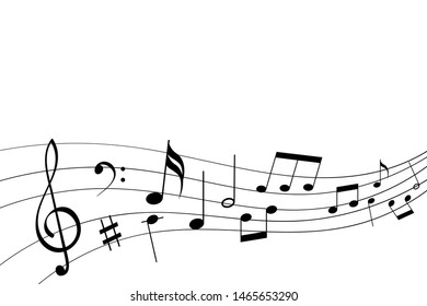 Abstract musical symbols on note staff.  illustration isolated on white background. Raster version