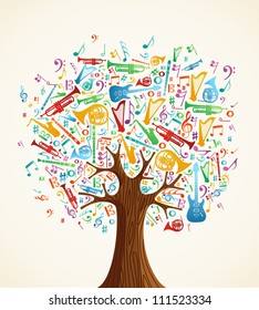Abstract musical tree made with instruments shapes illustration.