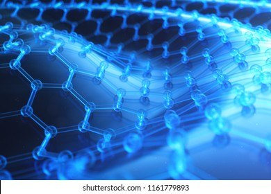 Abstract nanotechnology hexagonal geometric form close-up, concept graphene atomic structure, concept graphene molecular structure. Scientific concept, 3D Illustration