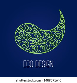 Abstract natural Linear logo. Green symbol Yin Yang on dark blue background.   sign for eco design. Alternative, Chinese medicine and wellness, zen meditation.