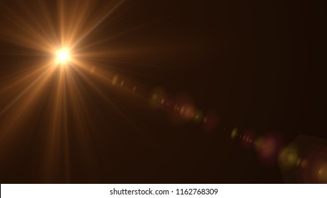 Abstract Natural Sun flare on the black background.