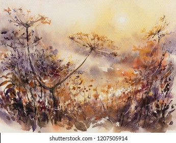 Abstract nature background with autumn floral motifs. Picture created with watercolors.