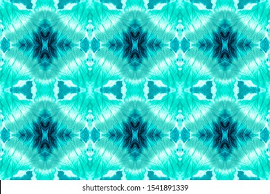 Abstract Navajo Ethnic Element. Dye Effect Seamless. Watercolor Style. Watercolor Wallpaper On Paper Texture. American Motifs. Winter Blue, Turquoise On White.