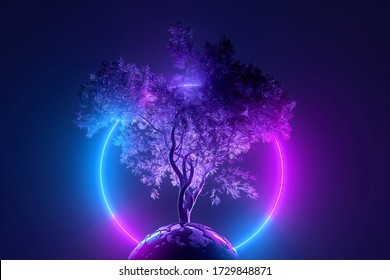 Abstract neon background, mystical cosmic tree sprouting through a round planet in the light of a neon glowing round frame, pink blue glowing, 3d illustration
