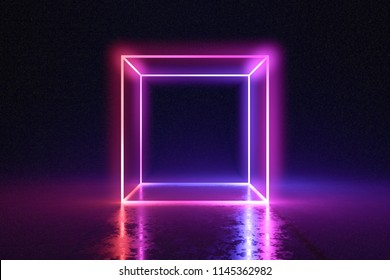 Abstract neon cube brightly shining in dark room. 3D rendered illustration.