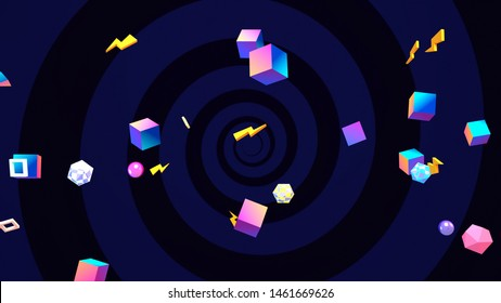 Abstract neon geometric shapes background. 3d rendering picture.