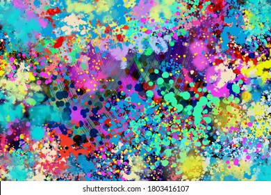 An abstract neon paint splatter background image.