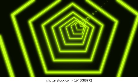 abstract neon pentagon tunnel motion background. Digital neon tunnel of pentagons composed of black lines on white background. 3D rendering animated negative monochrome 4k video.
