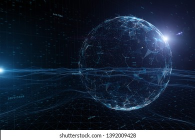 Abstract network cyberspace globe with sunlight reflection copy space 3d illustration background. View from space.