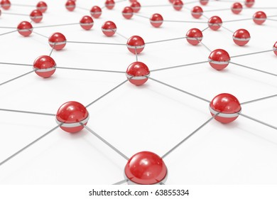 Abstract network made out of connected red balls