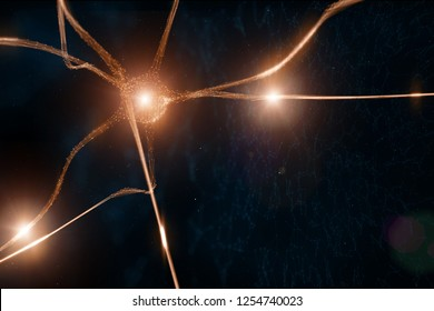 Abstract neuron cell in the brain on artistic illustration background.