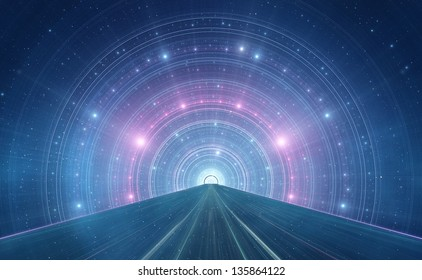 Abstract new age space background - intergalactic highway, space travel