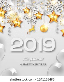Abstract New Year 2019 greeting card with silver and golden snowflakes, event ball, stars and ribbons