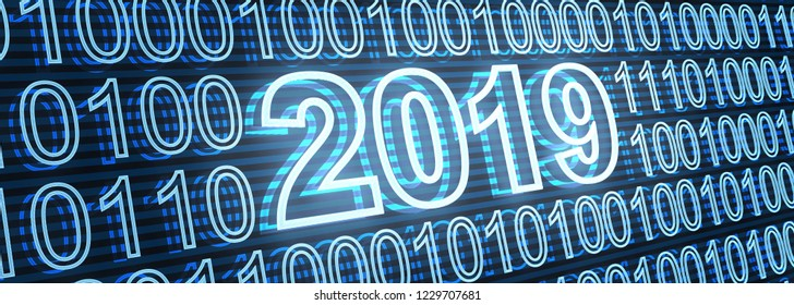 Abstract new year date 2019, on binary background. 3d illustration