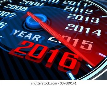 Abstract New year speedometer 2016 (done in 3d)