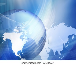 Abstract news background with earth, lights and fractals.