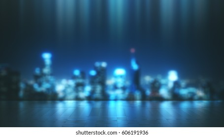 Abstract Night Blur City and Light With Reflection Floor. Concept Background. 3d illustration