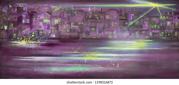 Abstract night cityscape with lamplight. Oil painting artwork.