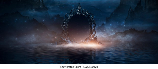 Abstract night fantasy landscape with mountains, river bank. An island on the water, a magic mirror, the light of the moon, rocks. Night sky reflected in the water. 3D illustration